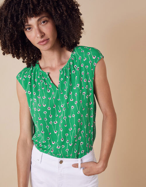 Printed Sleeveless Top with LENZING™ ECOVERO™, Green (GREEN), large