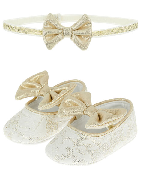 Jacquard Booties and Bando Set  Ivory, Ivory (IVORY), large