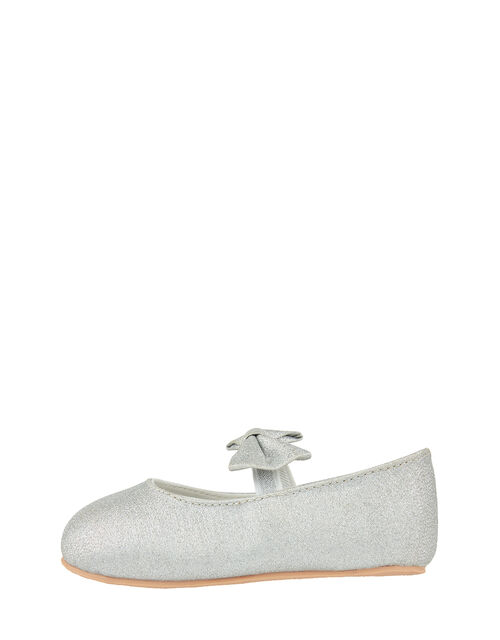 Baby Everly Sparkle Bow Flat Shoes, Silver (SILVER), large