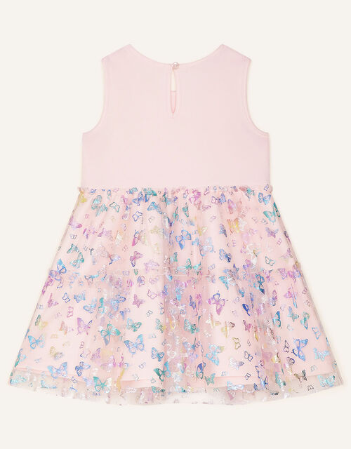 Butterfly Foil Print Tiered Dress, Pink (PINK), large