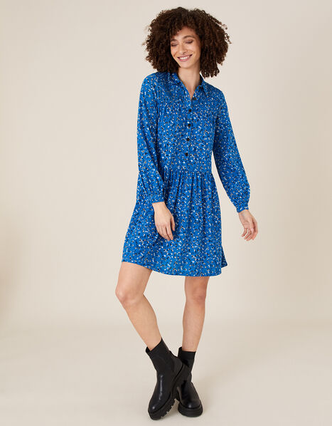 Suki Printed Shirt Dress with Organic Cotton Blue, Blue (BLUE), large