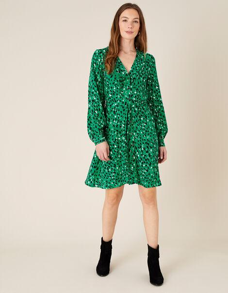 Tara Animal Print Short Dress  Green, Green (GREEN), large