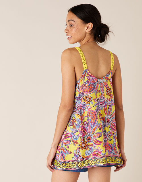 Floral Cami Top in Sustainable Viscose, Yellow (YELLOW), large