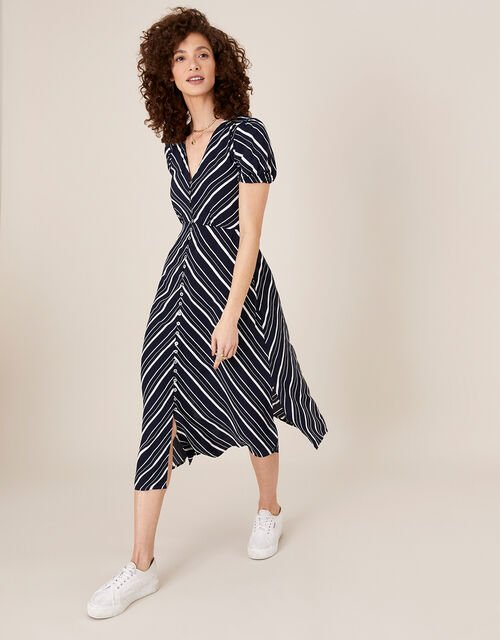 Stripe Midi Dress in Sustainable Viscose, Blue (NAVY), large
