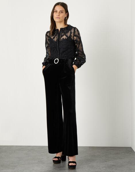 Willow Wide Leg Velvet Trouser Black, Black (BLACK), large