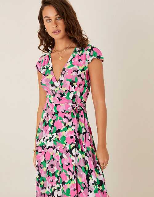 Floral Wrap Dress in Sustainable Viscose, Pink (PINK), large