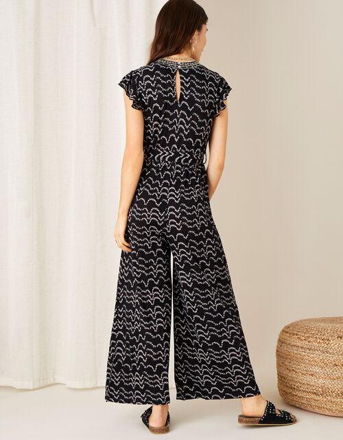 Martha Printed Jersey Jumpsuit, Black (BLACK), large
