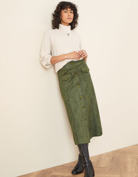 Button-Through Suedette Skirt Green, Green (GREEN), large