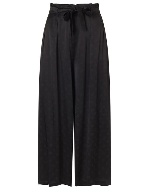 Satin Cropped Trousers, Black (BLACK), large