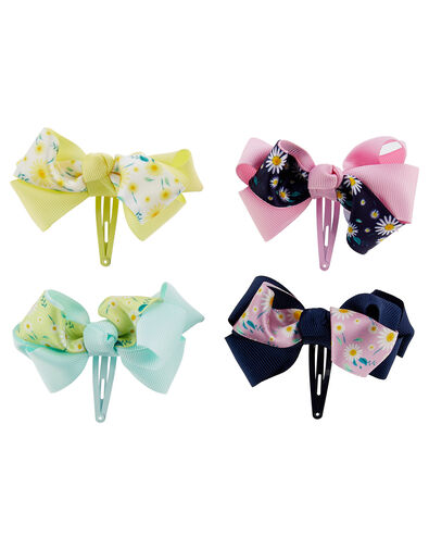Daisy Print Bow Hair Clip Set, , large