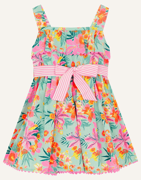 Baby Tropical Flamingo Dress Blue, Blue (AQUA), large