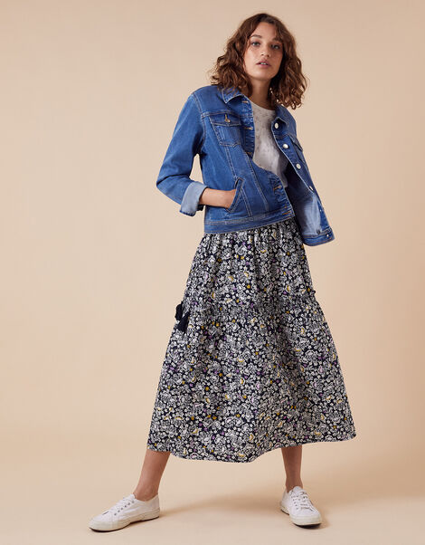 Floral Print Midi Skirt in Organic Cotton Blue, Blue (NAVY), large