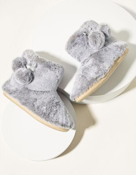 Faux Fur Slipper Boots Grey, Grey (GREY), large
