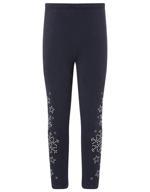 Embellished Snowflake Leggings, Blue (NAVY), large