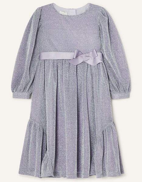 Erin Sparkle Long Sleeve Dress Silver, Silver (SILVER), large