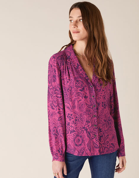 Paisley Print Blouse with LENZING™ ECOVERO™ Pink, Pink (PINK), large