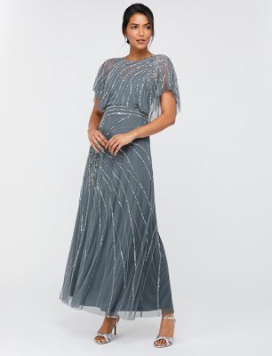 Florence embellished flutter sleeve maxi dress