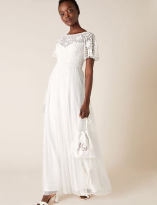 Shelly floral embellished bridal dress ivory