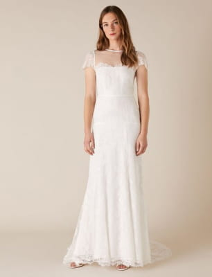 Rebecca chantilly lace bridal dress ivory