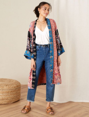 Floral kimono in lenzing™ ecovero™ orange
