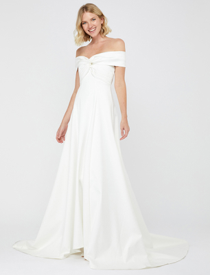 Hannah bridal bardot satin maxi dress