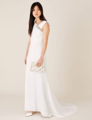 Tess brooch bridal maxi dress ivory